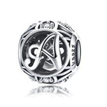 Ezüst A betű charm kristályokkal –  Pandora stílus