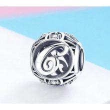 Ezüst C betű charm kristályokkal –  Pandora stílus