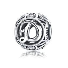 Ezüst D betű charm kristályokkal –  Pandora stílus