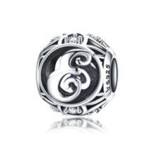 Ezüst E betű charm kristályokkal