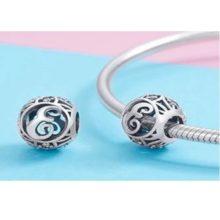 Ezüst E betű charm kristályokkal –  Pandora stílus