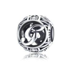 Ezüst G betű charm kristályokkal