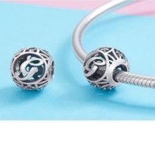 Ezüst G betű charm kristályokkal –  Pandora stílus