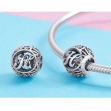 Ezüst H betű charm kristályokkal –  Pandora stílus