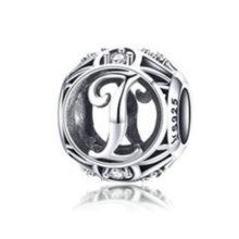 Ezüst I betű charm kristályokkal –  Pandora stílus