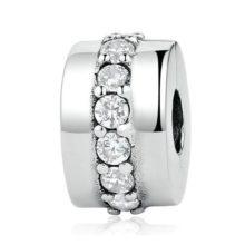 Ezüst gyöngy charm kristályokkal