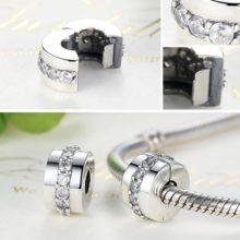 Ezüst gyöngy charm kristályokkal –  Pandora stílus