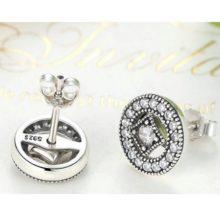 Strasszos ezüst vintage fülbevaló (Pandora stílus)