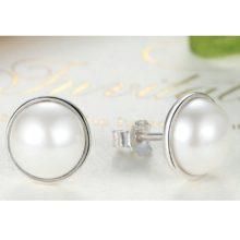 Ezüst fülbevaló gyöngy berakással (Pandora stílus)