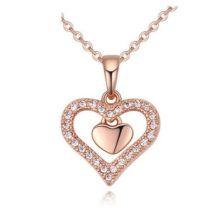 Dupla szív nyaklánc, Rosegold, rózsaarany