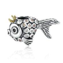 Ezüst halacska gyöngy kristálykövekkel –  Pandora stílus