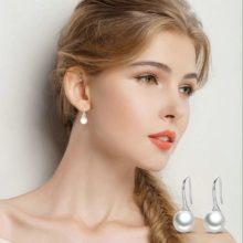 Ezüst fülbevaló gyönggyel, fehér (Pandora stílus)