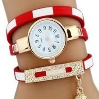 Csíkos pántos női karkötő-óra, piros
