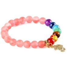 Meditációs karkötő rózsaszín turmalin gyöngyökkel, OM jellel