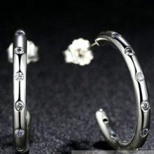 Strasszos, bedugós ezüst fülbevaló (Pandora stílus)