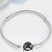 Egyszerű, szívmotívumos ezüst karperec, 17 cm (Pandora stílus)