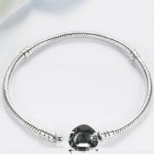 Egyszerű, szívmotívumos ezüst karperec, 19 cm (Pandora stílus)
