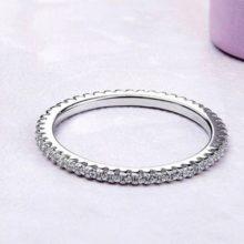 Ezüst gyűrű, körben kristálykövekkel díszítve, 7-es méret (Pandora stílus)