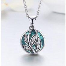 Ezüst nyaklánc életfa medállal, zöld (Pandora stílus)