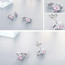 Ezüst fülbevaló dupla szívvel, rózsaszín kristállyal (Pandora stílus)