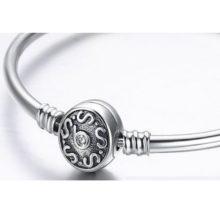 Kígyómintás ezüst karperec, 21 cm (Pandora stílus)