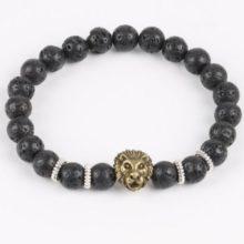 Oroszlános karkötő fekete lávakő gyöngyökkel, bronz színű