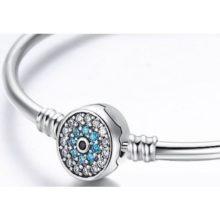 Ezüst karperec kék szem motívummal, 19 cm (Pandora stílus)