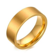 Férfi jegygyűrű, karikagyűrű, széles, rozsdamentes acél, arany színű, 9-es méret