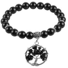 Fekete ónix karkötő életfa medállal