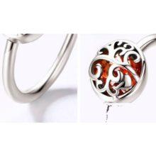 Ezüst gyűrű életfa motívummal, piros, 7-es méret (Pandora stílus)
