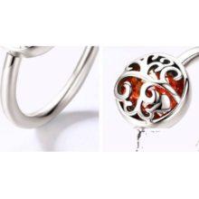 Ezüst gyűrű életfa motívummal, piros, 8-as méret (Pandora stílus)