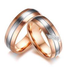 Női jegygyűrű, karikagyűrű ezüst csíkkal, rozsdamentes acél, arany színű, 9-es méret