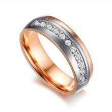 Női jegygyűrű, karikagyűrű ezüst sávval, rozsdamentes acél, arany színű, 9-es méret