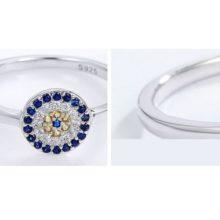 Ezüst gyűrű kék szem motívummal, 8-as méret (Pandora stílus)