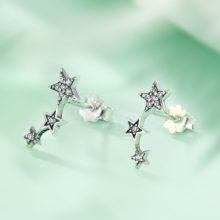Ezüst fülbevaló három csillaggal (Pandora stílus)