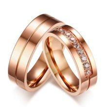 Férfi jegygyűrű, karikagyűrű vékony csíkkal, rozsdamentes acél, rózsaszín arany, 9-es méret