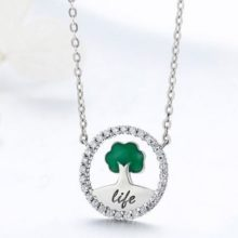 Ezüst nyaklánc kristályokkal, életfa medállal, zöld (Pandora stílus)