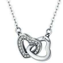 Ezüst nyaklánc két összekapcsolt szívvel (Pandora stílus)