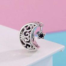 Ezüst Hold charm csillaggal –  Pandora stílus