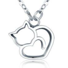 Ezüst nyaklánc macskával (Pandora stílus)