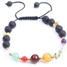 Fekete lávaköves karkötő színes féldrágakő gyöngyökkel