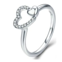 Ezüst gyűrű duplaszíves díszítéssel, 7-es méret (Pandora stílus)