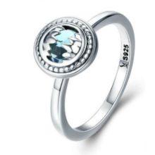 Ezüst gyűrű kék kristállyal, 7-es méret (Pandora stílus)