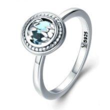 Ezüst gyűrű kék kristállyal, 8-as méret (Pandora stílus)