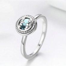 Ezüst gyűrű kék kristállyal, 6-os méret (Pandora stílus)