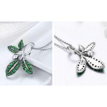 Ezüst nyaklánc leveles medállal, zöld (Pandora stílus)