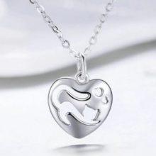 Ezüst nyaklánc macskás szív medállal (Pandora stílus)