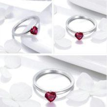 Ezüst gyűrű piros szívvel, 8-as méret (Pandora stílus)