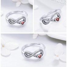 Ezüst gyűrű a végtelen jelével és szívvel, 8-as méret (Pandora stílus)