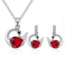 Hattyús nyaklánc és fülbevaló szett Swarovski kristállyal díszített, piros